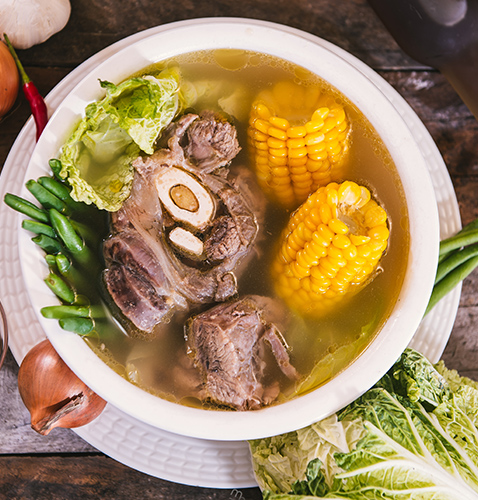 Special batangas bulalo with corn and vegetables
